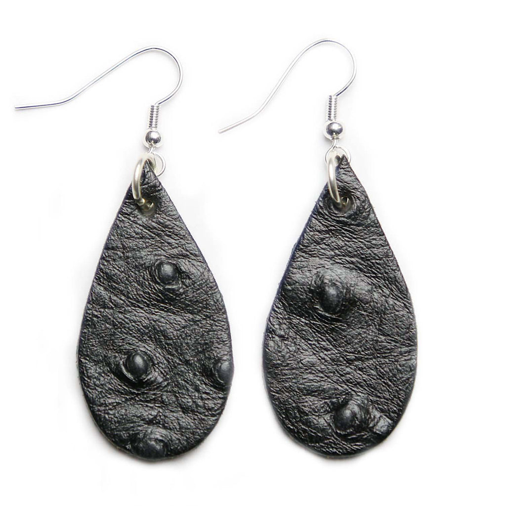 Black Ostrich Print Leather Tear Drop Earrings
