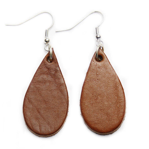 Dark Tan Leather Tear Drop Earrings