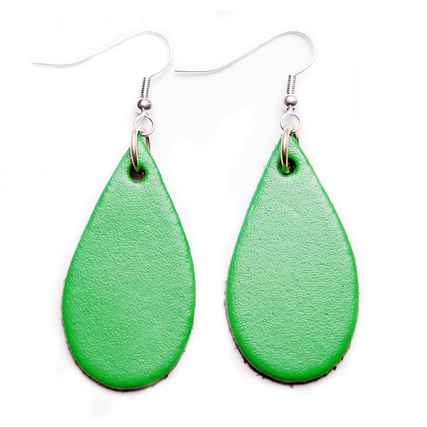 Emerald Green Leather Tear Drop Earrings