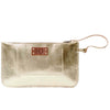 Eloise Gold Leather Clutch Bag