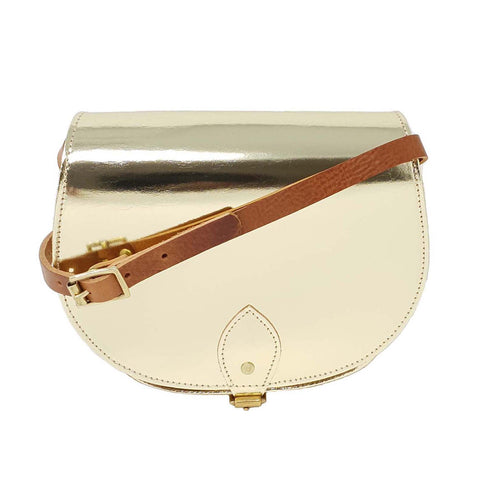 Gold Leather Saddle Bag With Tan straps