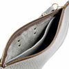 Eloise Grey Leather Clutch Bag