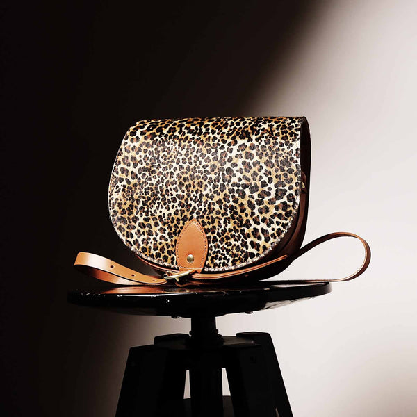 Jaguar Print Leather Saddle Bag with Pocket