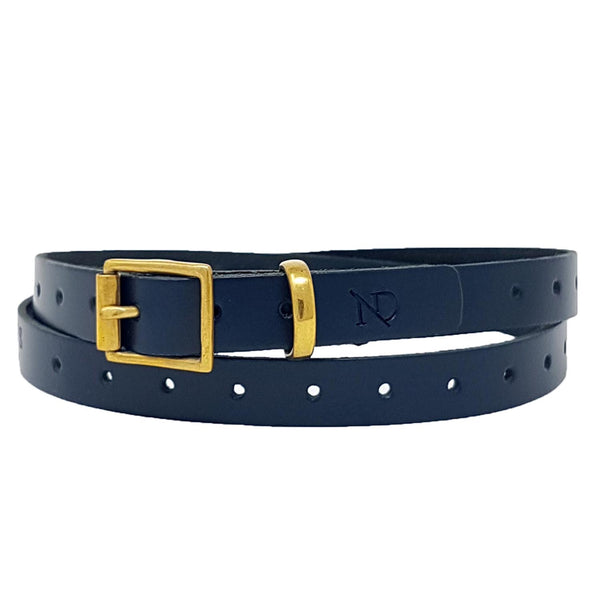Carnaby Navy Leather Skinny Belt