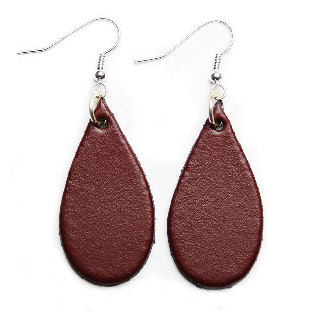 Oxblood Leather Tear Drop Earrings