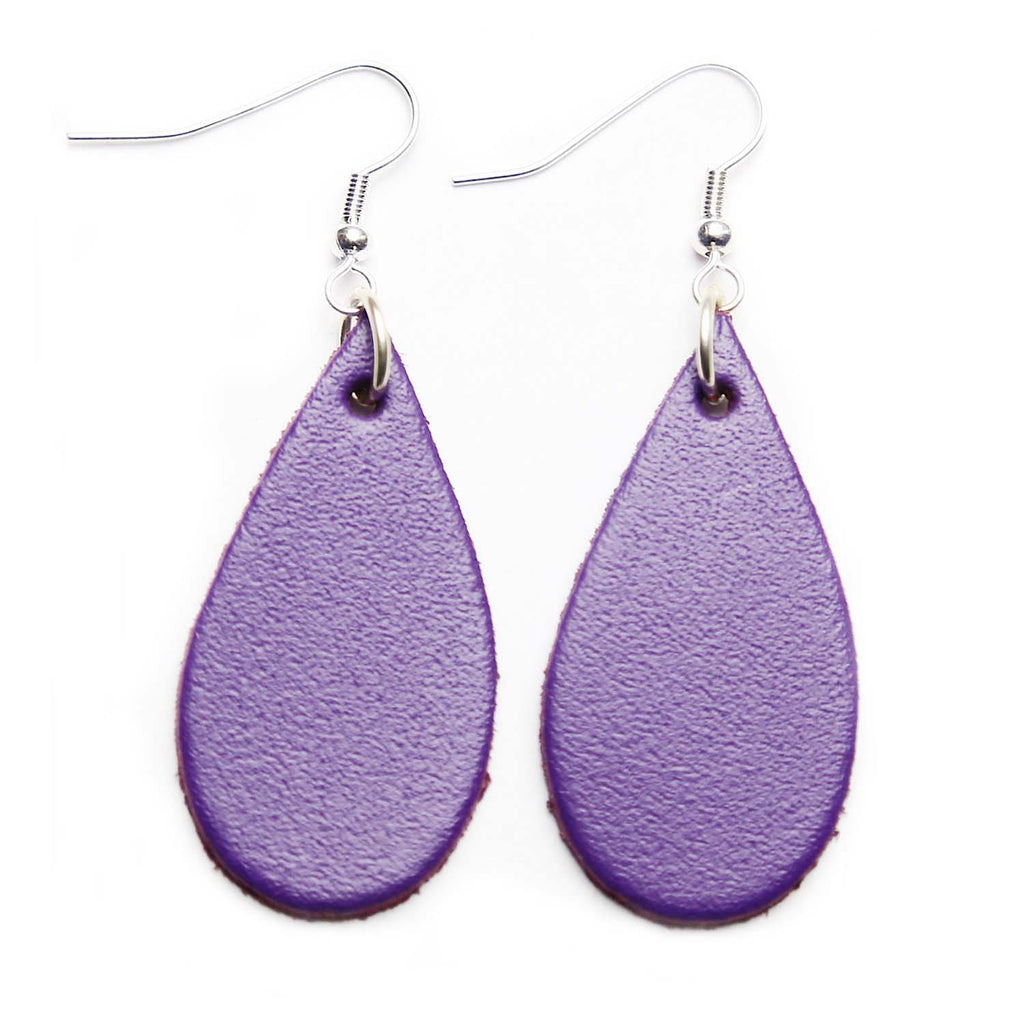 Purple Leather Tear Drop Earrings