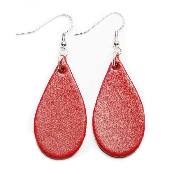 Red Leather Tear Drop Earrings