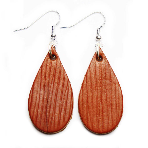 Textured Tan Leather Tear Drop Earrings