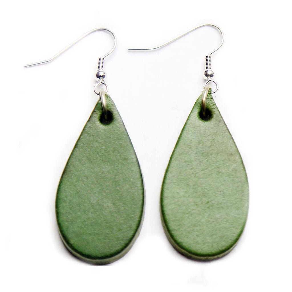 Vintage Green Leather Tear Drop Earrings