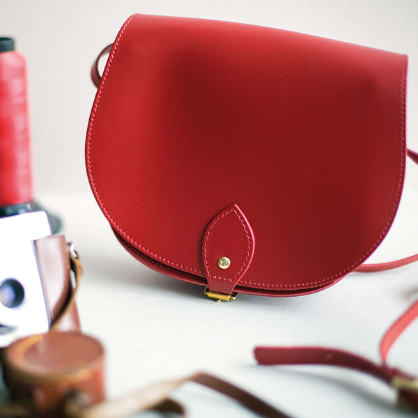 Red Saddle Bag With Pocket