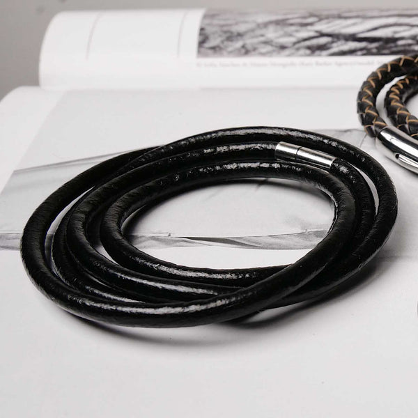 Black Leather Multilayered Bracelet