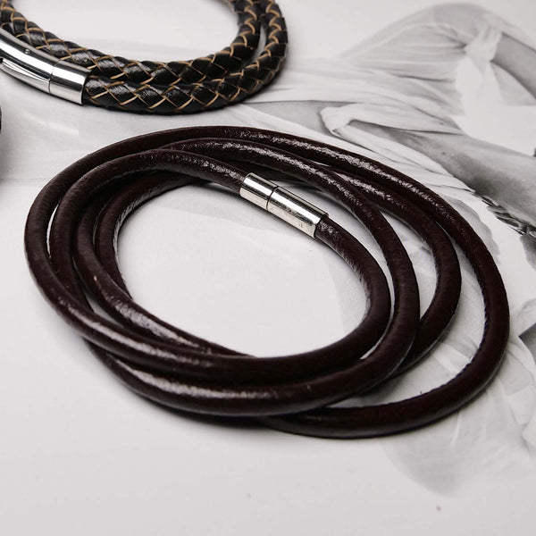 Brown Leather Multilayered Bracelet