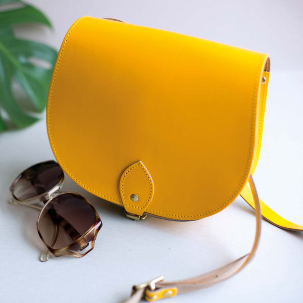 Yellow Saddle Bag With Pocket