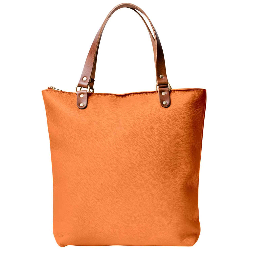 Abbey Orange Leather Tote Bag