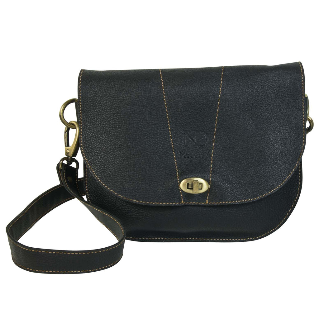 Retro Black Saddle Bag