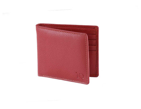 Mens Red Leather Billfold Wallet Arthur Red BiFold Wallet