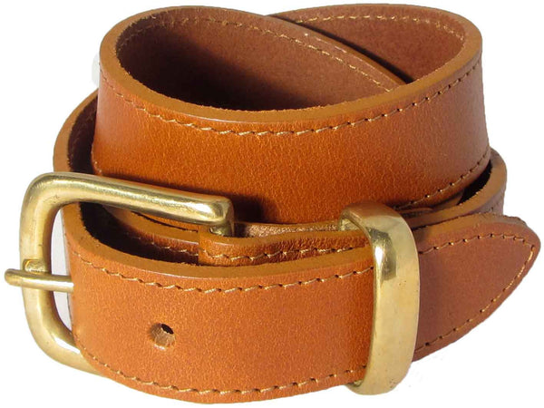 Lady Orion Tan Brown Belt with Gold Buckle luxury leather