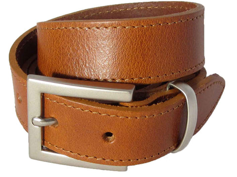 Lady Orion Tan Brown Belt with Silver Buckle luxury leather