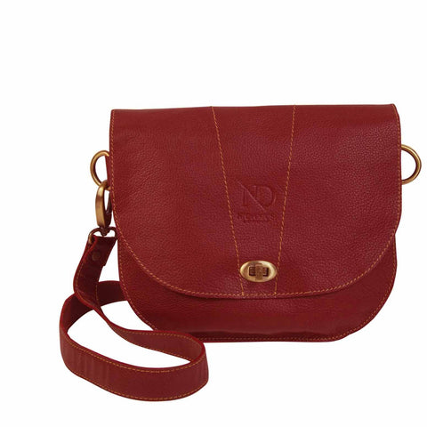 Retro Ruby Red Saddle Style Cross Bag