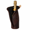 Dark Brown Leather Zip Champagne Sleeve case