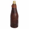 Dark Brown Leather Zip Champagne Sleeve