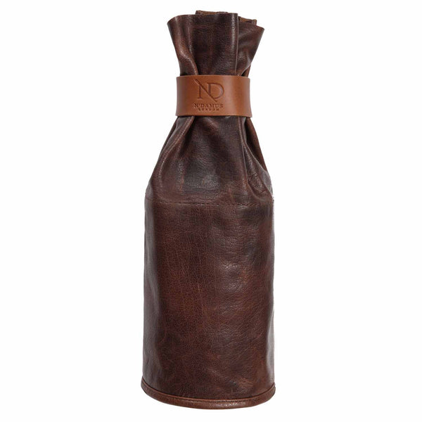 Dark Brown Leather Wine Sleeve