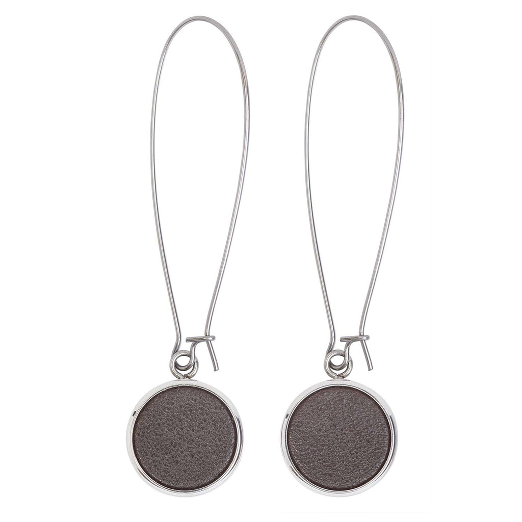 Women Earrings Silverdale Brown Italian leather Steel Drop Earrings