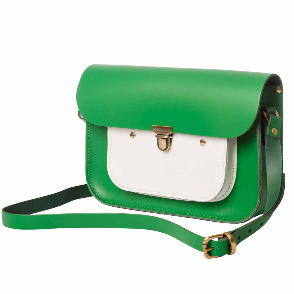 Green & White Mini Pocket Satchel