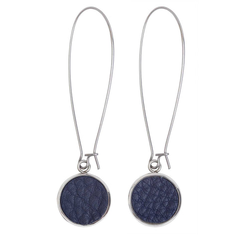 Women Earrings Silverdale Blue Italian leather Steel Drop Earrings