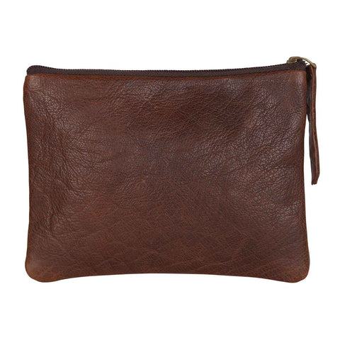 Brown Leather Flat Makeup Pouch