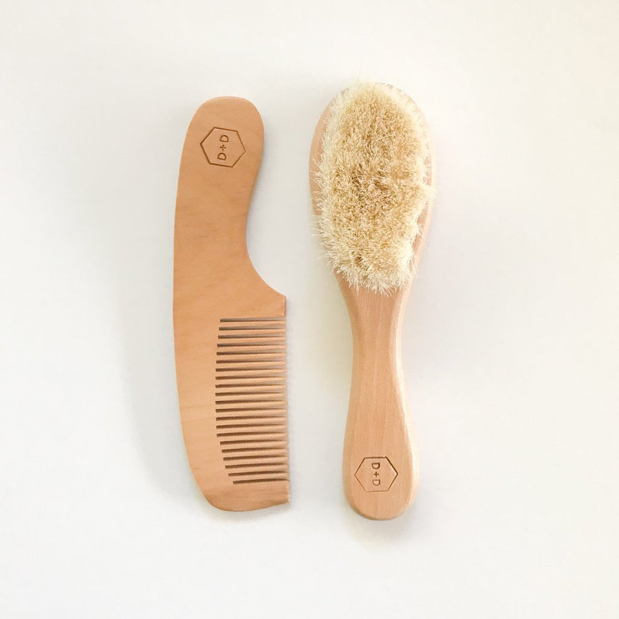 Wood Brush And Comb Set