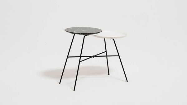 Peggy Side Table - Black Quartz/White