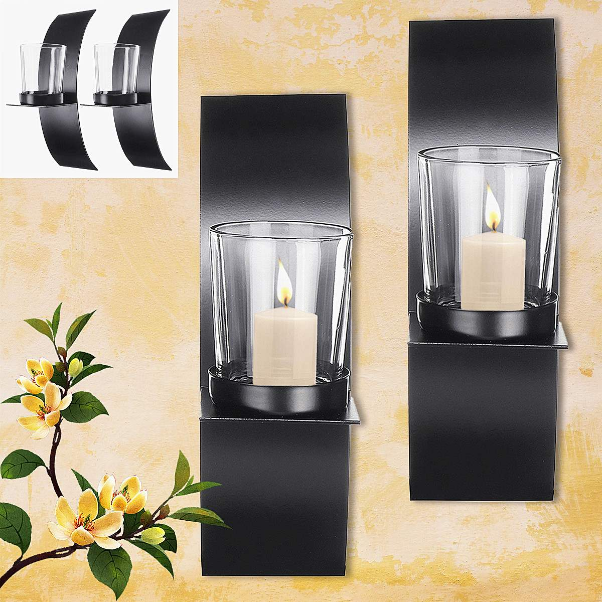 Modern Candle Wall Sconce Pair