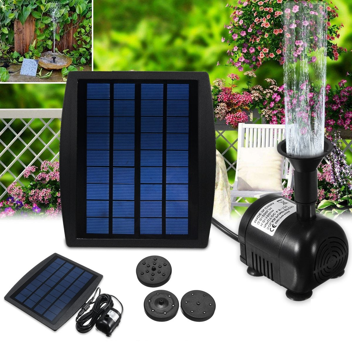 2.5W Solar Panel Floating Fountain Solar Water Pump Kit Waterfall Outdoor Water Bird Bath