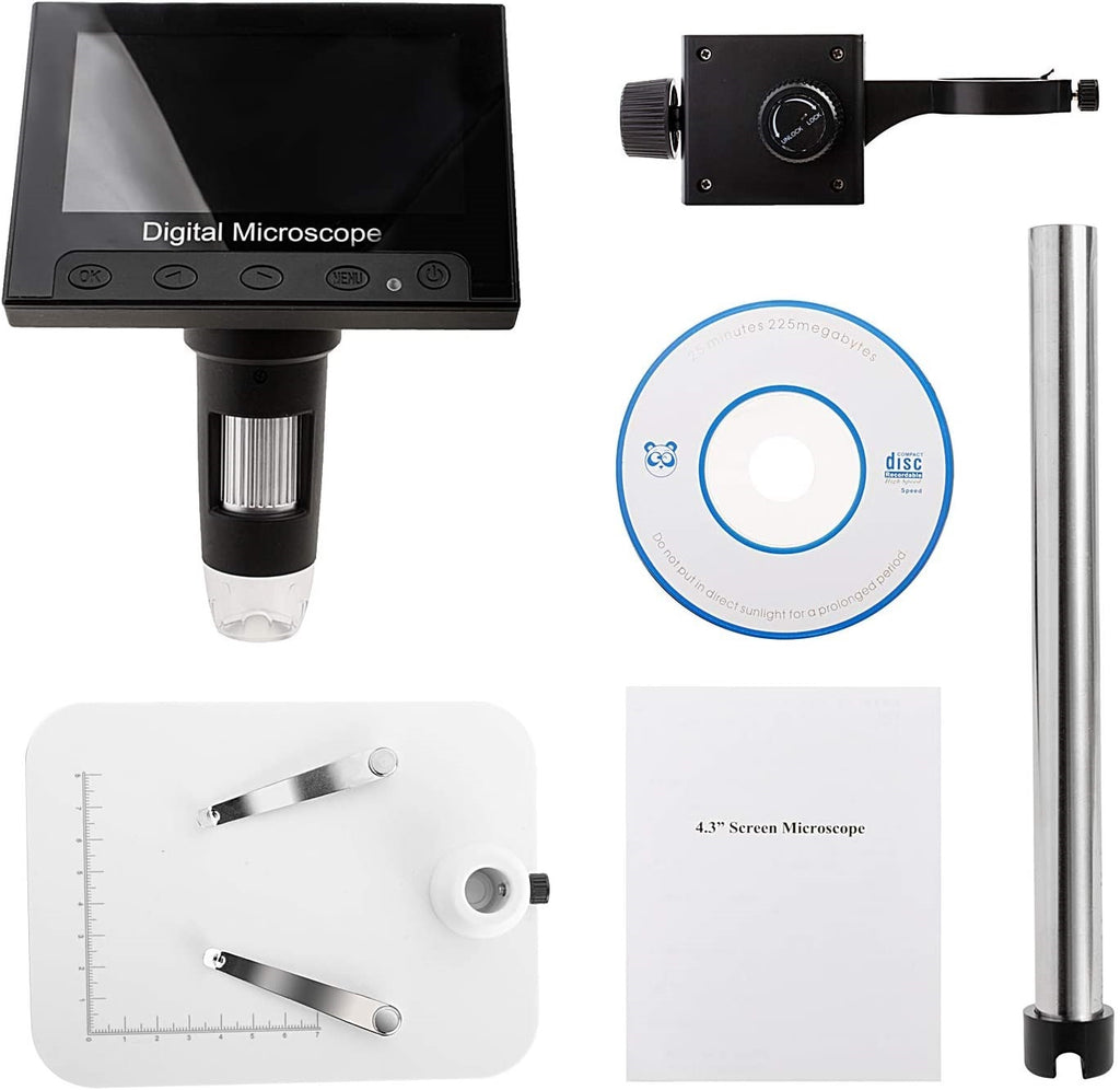 "HyperClear™ 1000x 2MP HD 1080p Digital Microscope Camera with 4.3"" Screen"