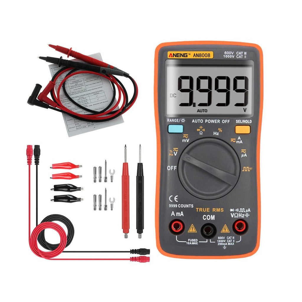 ANENG AN8008 True RMS Wave Output Digital Multimeter 9999 Counts Backlight AC DC Current Voltage Res - 100 Gizmos