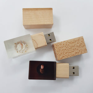 Crystal USB with Maple or Walnut Wood Lid