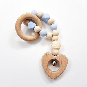Teething Rattle With Silicone Beads & Beechwood