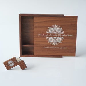 "6x4"" Square 'Walnut' Wooden Box (EMPTY - Photo lid is an optional extra)"