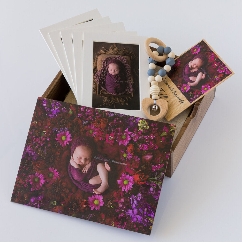 Wooden Box Set 41:  2 Photo Display Frame, Rattle, Bamboo Print & 5 Mounts.