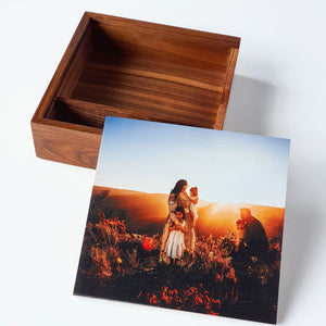 "7x5"" Square 'Walnut' Wooden Box (EMPTY - Photo lid is an optional extra)"