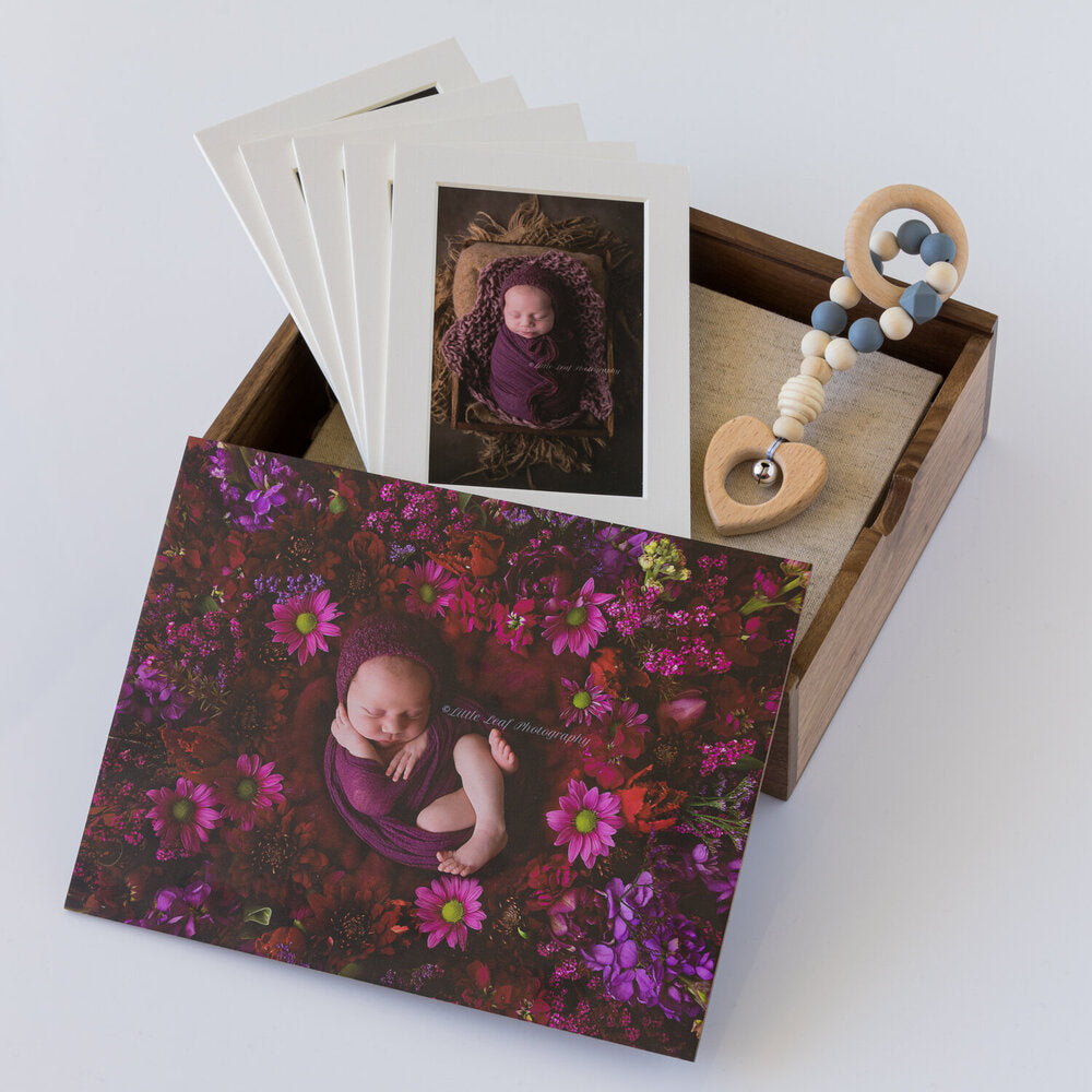 Wooden Box Set 23:  10 Photo Album, Rattle & 5 Mounts.
