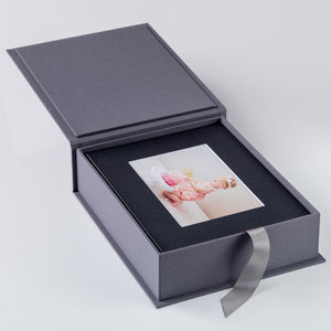 "10x8"" Portrait Box - Linen or Japanese cotton fabric lining"