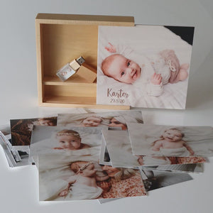"6x4"" Square 'Maple' Wooden Box (Photo lid - optional extra)"