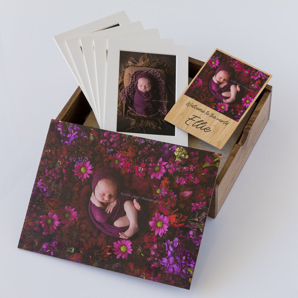 Wooden Box Set 25:  10 Photo Album, Bamboo Photo Magnet & 5 Mounts.