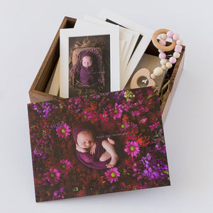 Wooden Box Set 43: Wooden Box, 2 Photo Display Frame, Rattle & 5 Mounts.