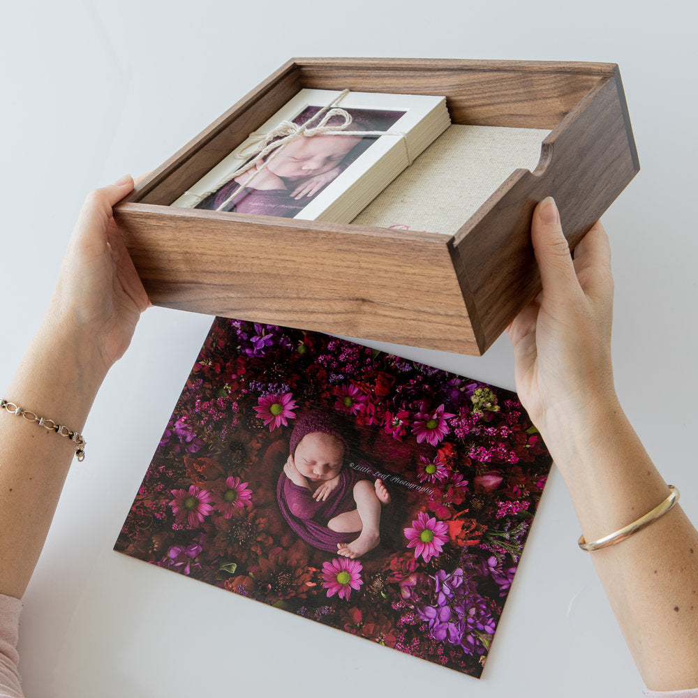"8x10"" walnut wooden memory box (EMPTY - Photo lid is an optional extra)"