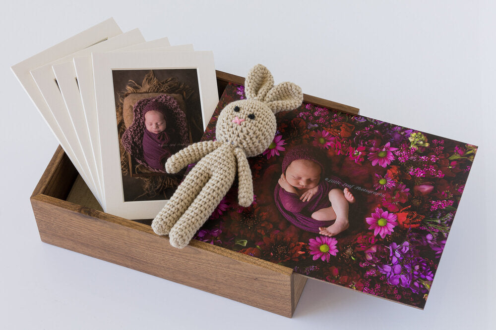 Wooden Box Set 44:  Wooden Box, 2 Photo Display Frame, Bunny & 5 Mounts.