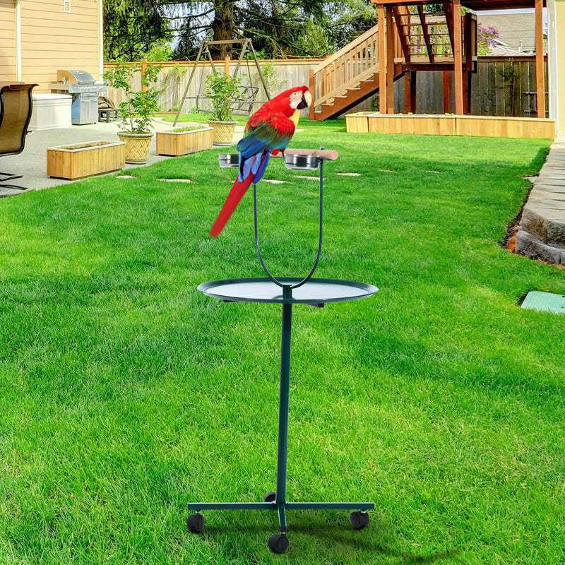 "49"" Bird Parrot Play Stand Cockatoo Gym Metal Pet Feeder Bowls Wheels"
