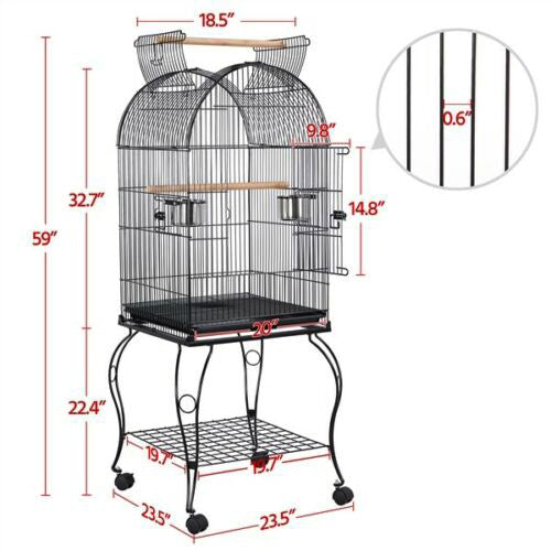 "59"" Open Top Large Medium Parrot Cockatiel Parakeet Bird Cage w/Stand"